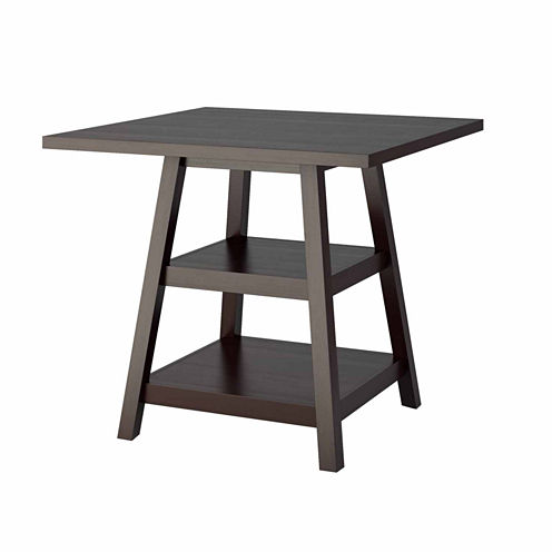 Bistro Counter Height Dining Table with Shelves