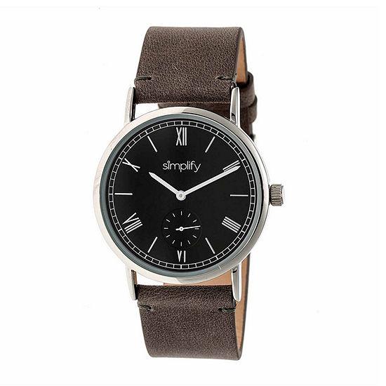 Simplify Mens Gray Leather Strap Watch-Sim5104
