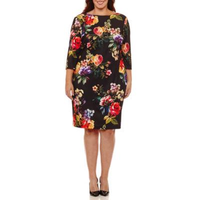Bisou Bisou Elbow Sleeve Floral Sheath Dress-Plus