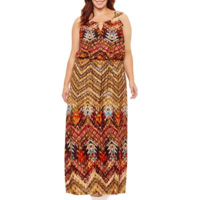 Soho Sleeveless Embellished Maxi Dress-Plus
