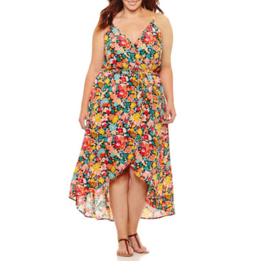 Weslee Rose Sleeveless Floral Maxi Dress-Plus
