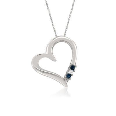 Womens 1/10 CT. T.W. Blue Sapphire 14K Gold Heart Pendant Necklace