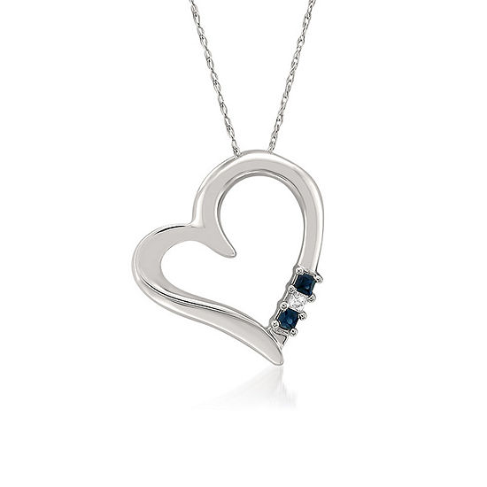 Womens 1/10 CT. T.W. Genuine Blue Sapphire 14K Gold Heart Pendant Necklace