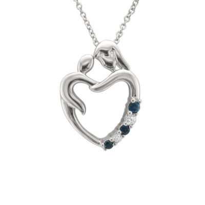 Womens 1/10 CT. T.W. Blue Sapphire 14K Gold Pendant Necklace