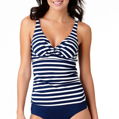Liz Claiborne Stripe Tankini Swimsuit Top