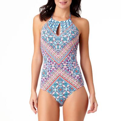 Liz Claiborne Paisley High Neck One Piece Swimsuit