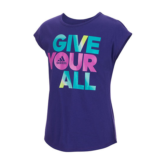adidas Girls Crew Neck Short Sleeve T-Shirt-Big Kid