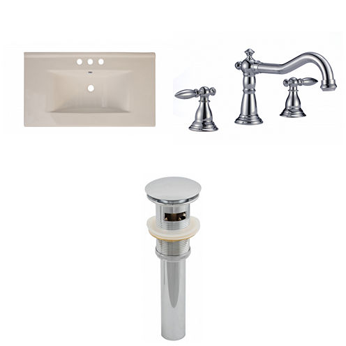 American Imaginations Ceramic Top Set In Biscuit Color With 8-in. o.c. CUPC Faucet And Drain