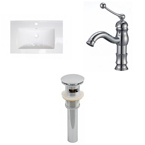 American Imaginations Ceramic Top Set In White Color With Single Hole CUPC Faucet And Drain