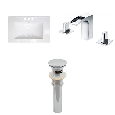 American Imaginations Ceramic Top Set In White Color With 8-in. o.c. CUPC Faucet And Drain