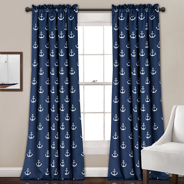 Lush Decor Anchor 2-Pack Room Darkening Curtain Panel