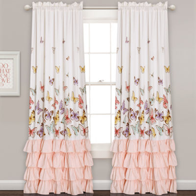 Lush Decor Flutter Butterfly 2-Pack Curtain Panel