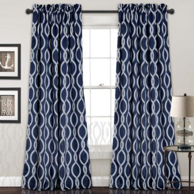 Lush Decor Rope Knot 2-Pack Room Darkening Curtain Panel