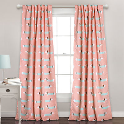 Lush Decor Sausage Dog 2-Pack Room Darkening Curtain Panel