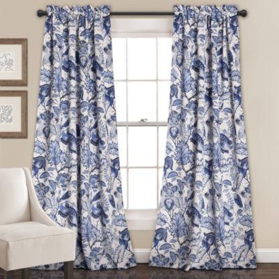 Lush Decor Cynthia Jacobean 2-Pack Room Darkening Curtain Panel