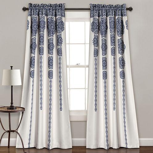 Lush Decor Stripe Medallion 2-Pack Room Darkening Curtain Panel