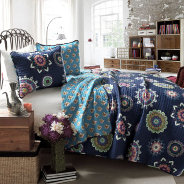 Lush Decor Adrianne 3pc Navy Quilt