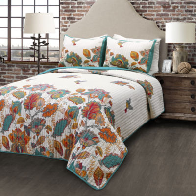 Lush Decor Bird and Flower 3pc Quilt Set