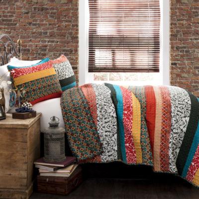 Lush Decor Boho Stripe 3pc Quilt Set