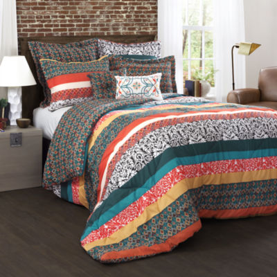 Lush Decor Boho Stripe 7pc Comforter Set