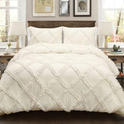 Lush Decor Ruffle Diamond Comforter 3Pc Set
