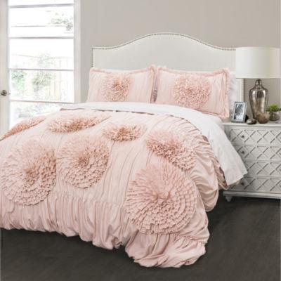 Lush Decor Serena 3pc Comforter Set Pink