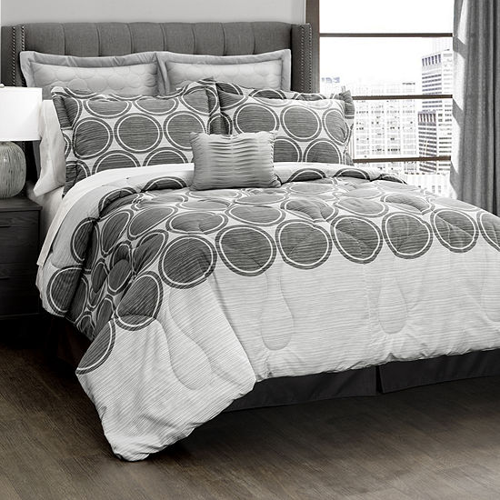 Lush Decor Textured Circle 6pc Comforter Set