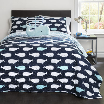Lush Decor Whale 4pc Quilt Set