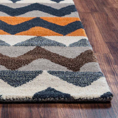 Rizzy Home Gillespie Avenue Collection Hand-Tufted Adeline Chevron Area Rug