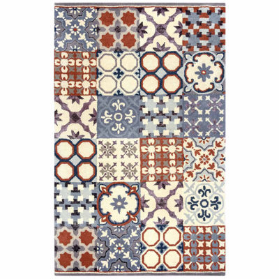 Rizzy Home Gillespie Avenue Collection Hand-TuftedSerenity Patchwork Area Rug
