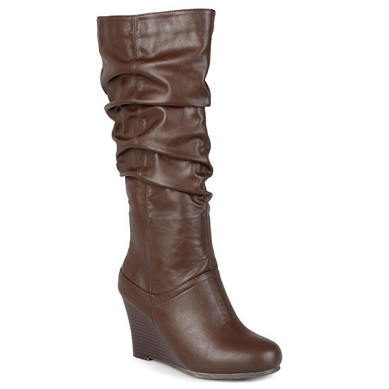 Journee Collection Womens Hana Wide Calf Slouch Wedge Heel Boots