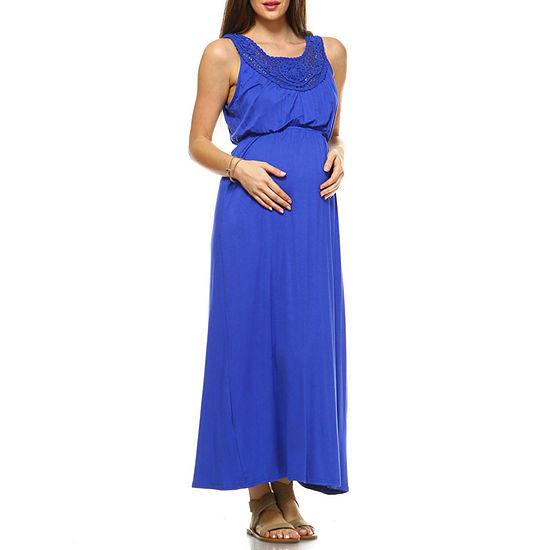 White Mark Kadyn Long Sleeve Maxi Dress-Maternity