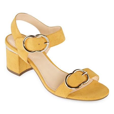 Liz Claiborne Womens Lanza Heeled Sandals, 6 Medium, Yellow