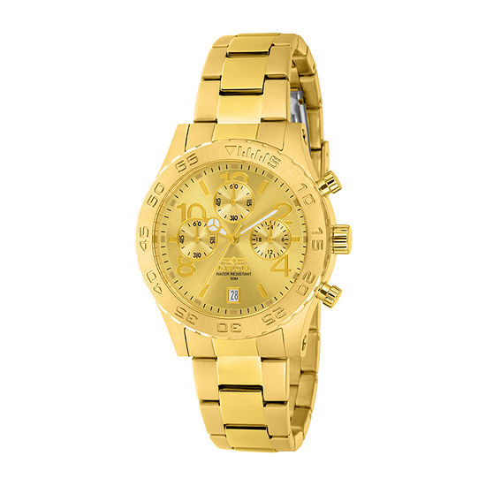 Invicta Specialty Womens Gold Tone Stainless Steel Bracelet Watch-1279