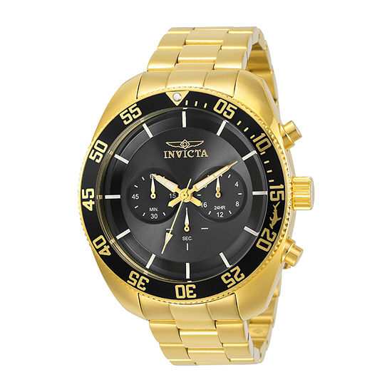 Invicta Pro Diver Mens Chronograph Gold Tone Stainless Steel Bracelet Watch-30060