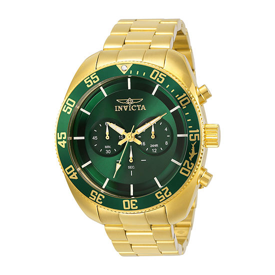Invicta Pro Diver Mens Chronograph Gold Tone Stainless Steel Bracelet Watch-30061