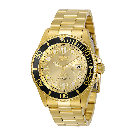 Invicta Pro Diver Mens Gold Tone Stainless Steel Bracelet Watch-30025