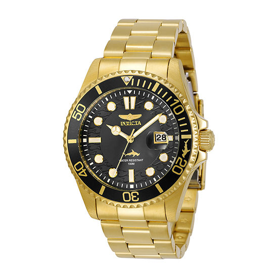 Invicta Pro Diver Mens Gold Tone Stainless Steel Bracelet Watch-30026
