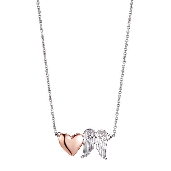 Footnotes Angel Sterling Silver 16 Inch Link Wing Pendant Necklace