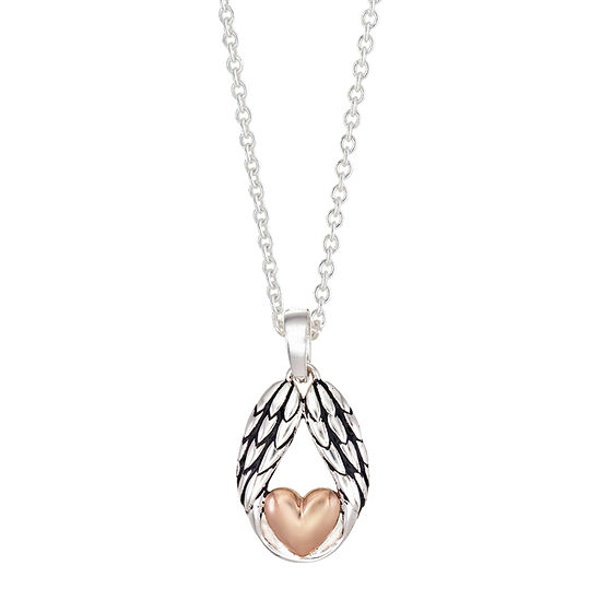Footnotes Friend Sterling Silver 16 Inch Link Heart Pendant Necklace