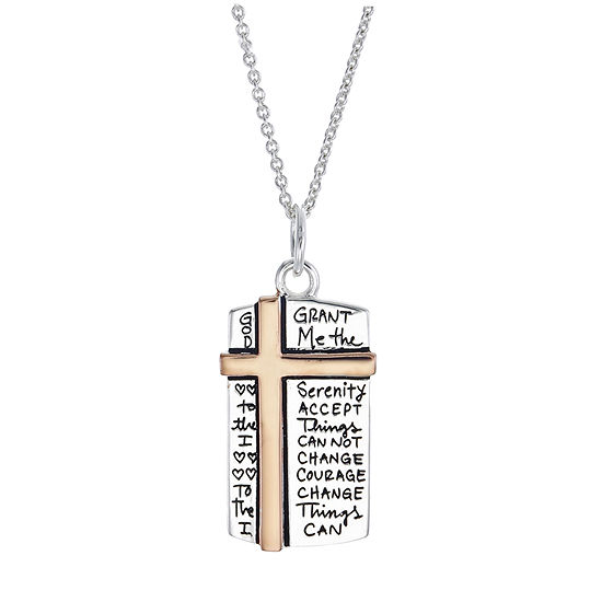 Footnotes Womens Sterling Silver Cross Pendant Necklace Set