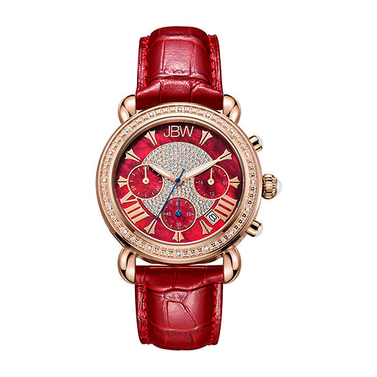 JBW Victory 1/6 C.T. T.W. Genuine Diamond Womens Diamond Accent Red Leather Strap Watch-Jb-6210l-W
