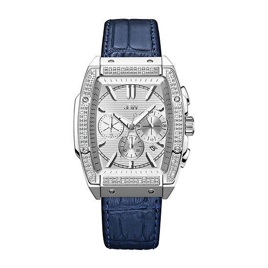 JBW Echelon 1/4 C.T. T.W. Genuine Diamond Mens Chronograph Blue Leather Strap Watch-J6379c