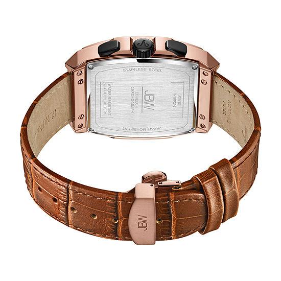 JBW Echelon 1/4 C.T. T.W. Genuine Diamond Mens Chronograph Brown Leather Strap Watch-J6379d