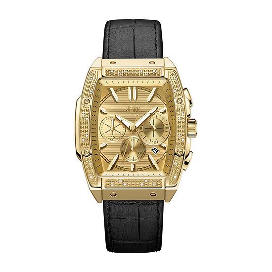 JBW Echelon 1/4 C.T. T.W. Genuine Diamond Mens Chronograph Black Leather Strap Watch-J6379e