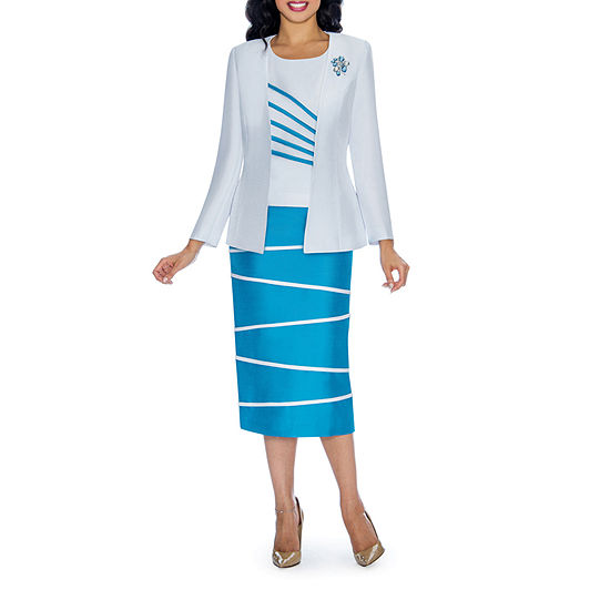 Giovanna Collection Striped Skirt Suit