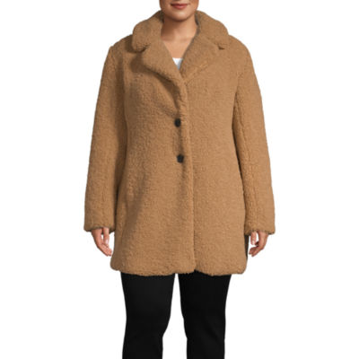 Liz Claiborne Sherpa Lightweight Faux Fur Coat-Plus