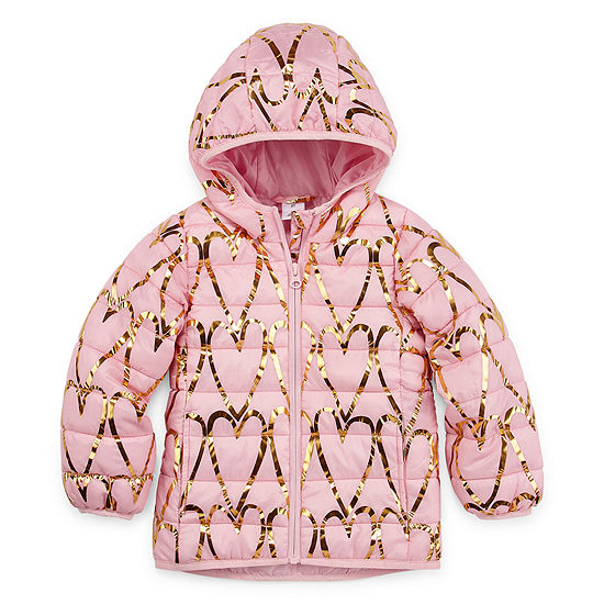 Okie Dokie - Girls Hooded Water Resistant Midweight Puffer Jacket-Toddler