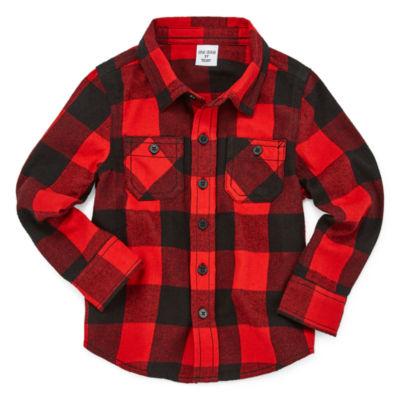 Okie Dokie Boys Long Sleeve Flannel Shirt-Toddler