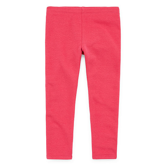 Okie Dokie Solid Fleece Lined Girls Legging - Toddler
